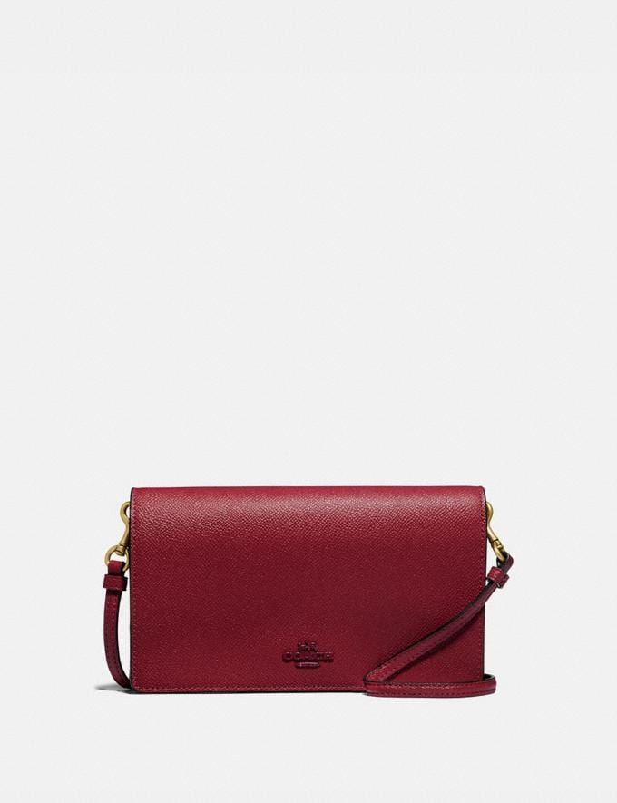 Coach Hayden Foldover Crossbody Clutch Brass/Deep Red Women Bags Crossbody Bags
