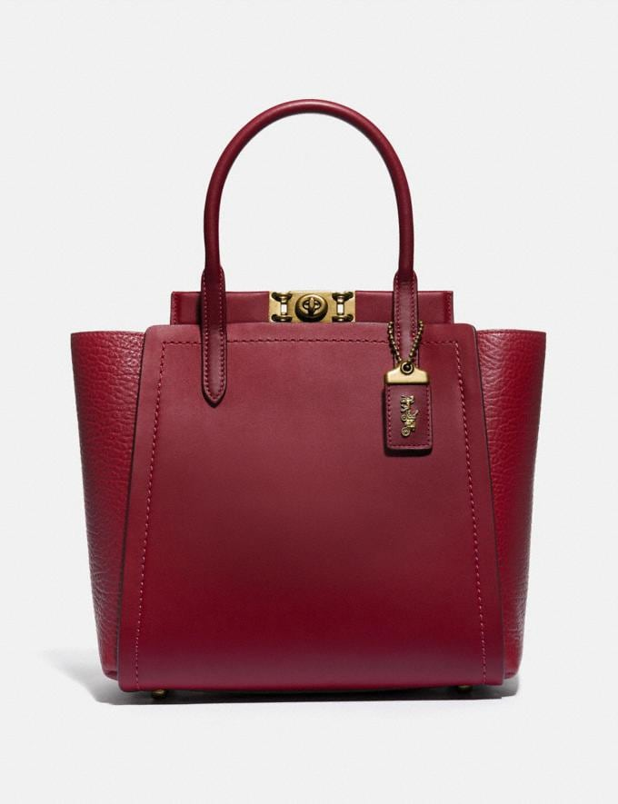 Coach Troupe Tote Brass/Deep Red Women Bags Satchels