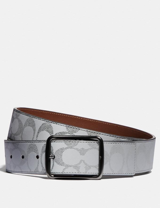 Coach Harness Buckle Cut-To-Size Reversible Belt, 38mm Silver/Saddle Men Accessories Belts