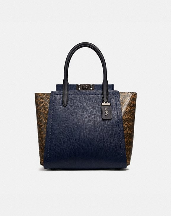 Coach TROUPE TOTE IN COLORBLOCK WITH SNAKESKIN DETAIL