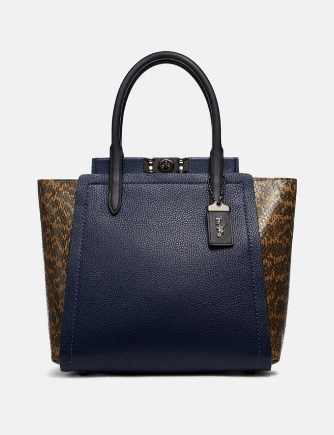Coach Troupe Tote With Colorblock Snakeskin Detail Pewter/Cadet Multi Personalise For Her