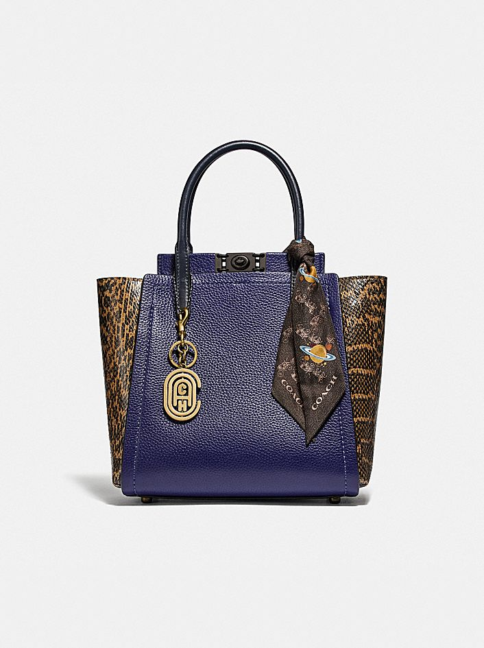 TROUPE TOTE IN COLORBLOCK WITH SNAKESKIN DETAIL