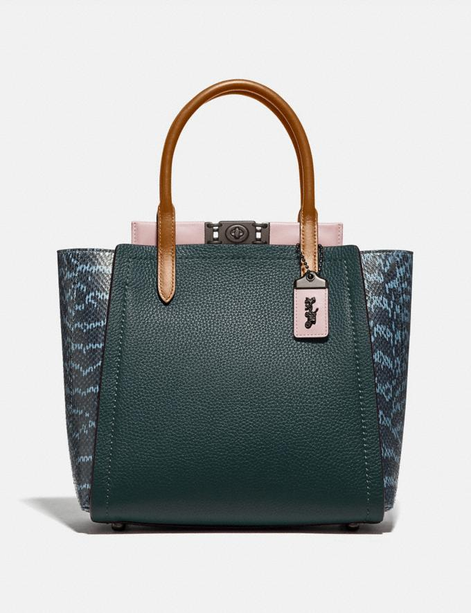 Coach Troupe Tote With Colorblock Snakeskin Detail Pewter/Pine Green/Aurora Multi Women Handbags Satchels & Top Handles