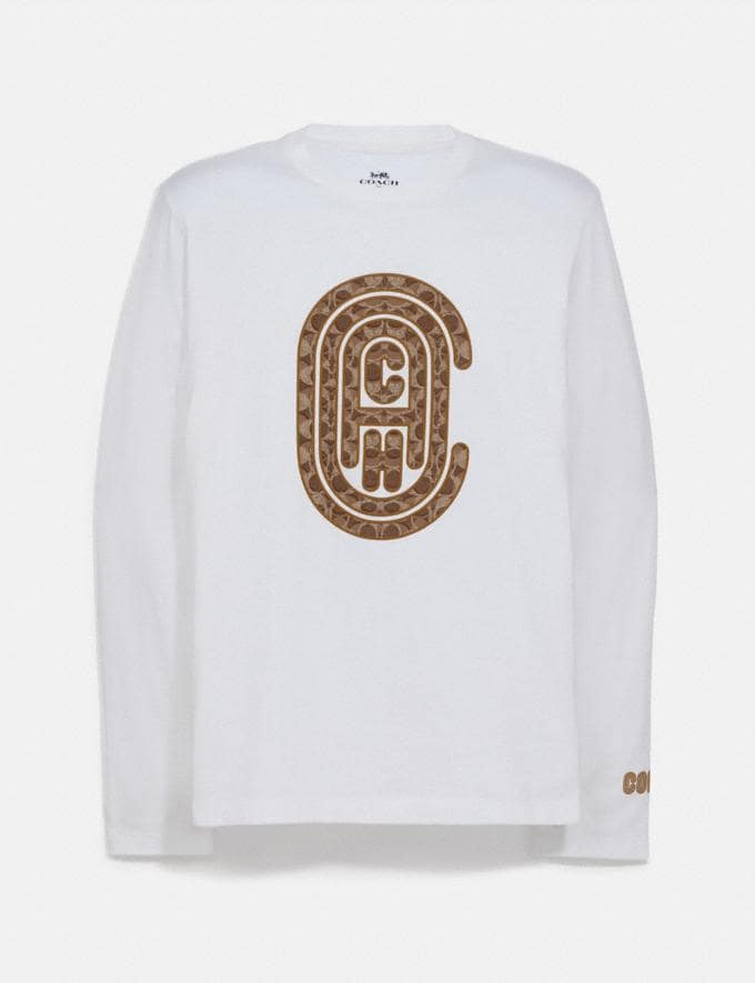 Coach Coach Graphic Long Sleeve T-Shirt White Men Ready-to-Wear Tops & Bottoms