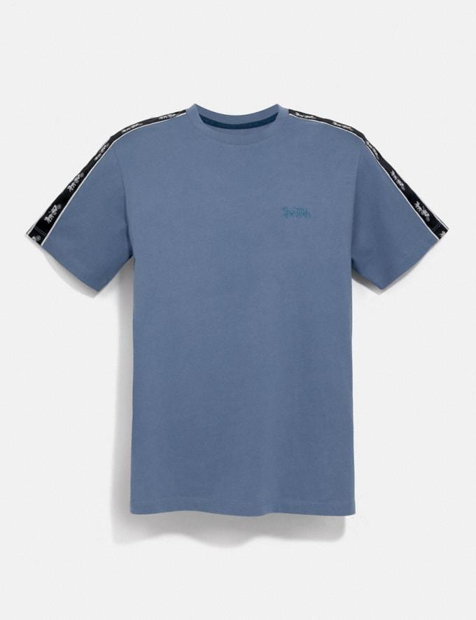 Coach Horse and Carriage Tape T-Shirt Slate Men Ready-to-Wear Tops & Bottoms