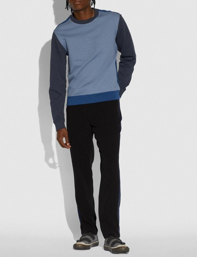 Coach Pop Horse and Carriage Sweatshirt Slate/Navy Men Ready-to-Wear Tops & Bottoms Alternate View 1