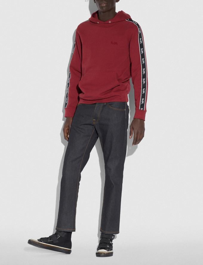 Coach Horse and Carriage Tape Hoodie Dark Cardinal Men Edits Practical yet Cozy Alternate View 1