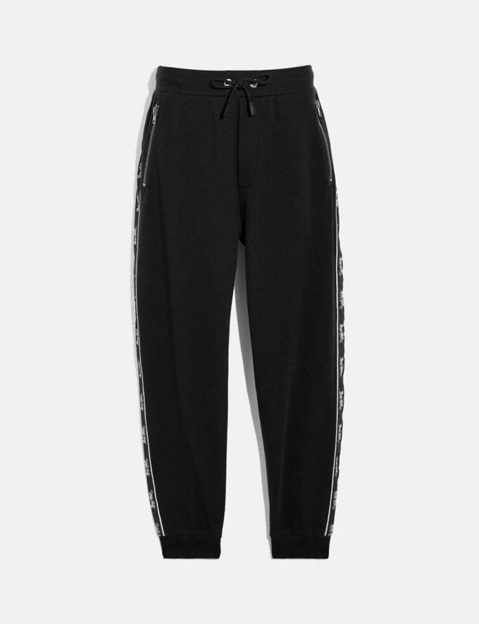 Coach Horse and Carriage Tape Sweatpants Black New Men's New Arrivals Ready-to-Wear