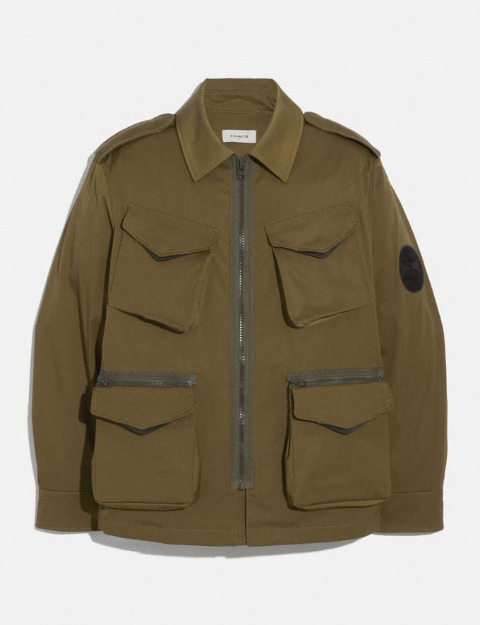 Coach Removable Pocket Jacket Military Green New Men's New Arrivals Ready-to-Wear