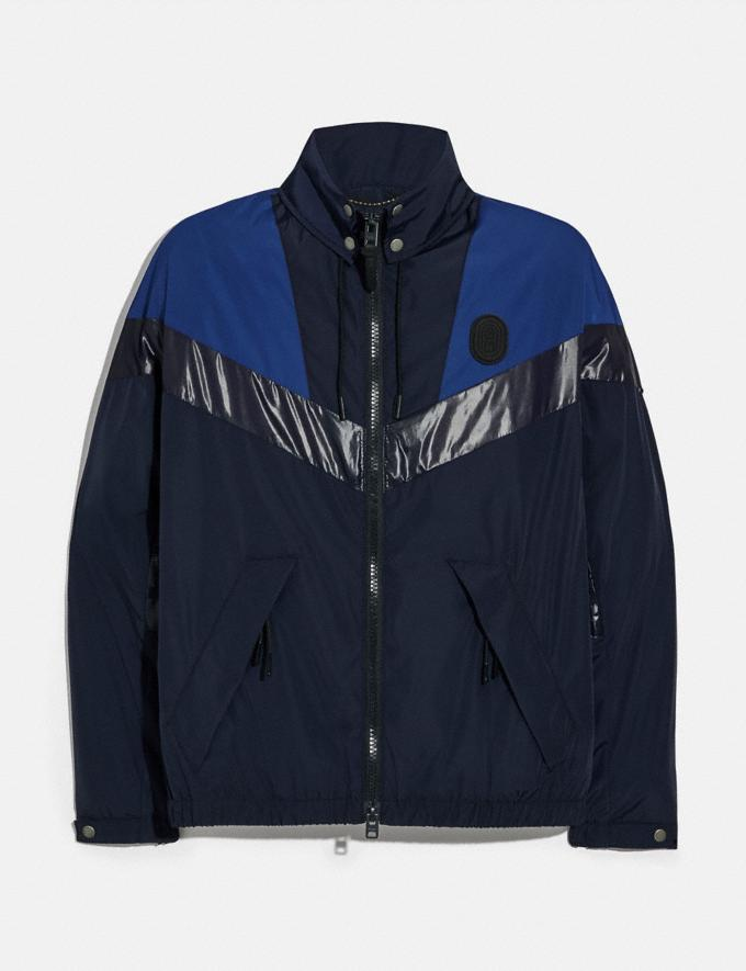 Coach Packable Windbreaker Navy/Deep Sky Men Ready-to-Wear Coats & Jackets