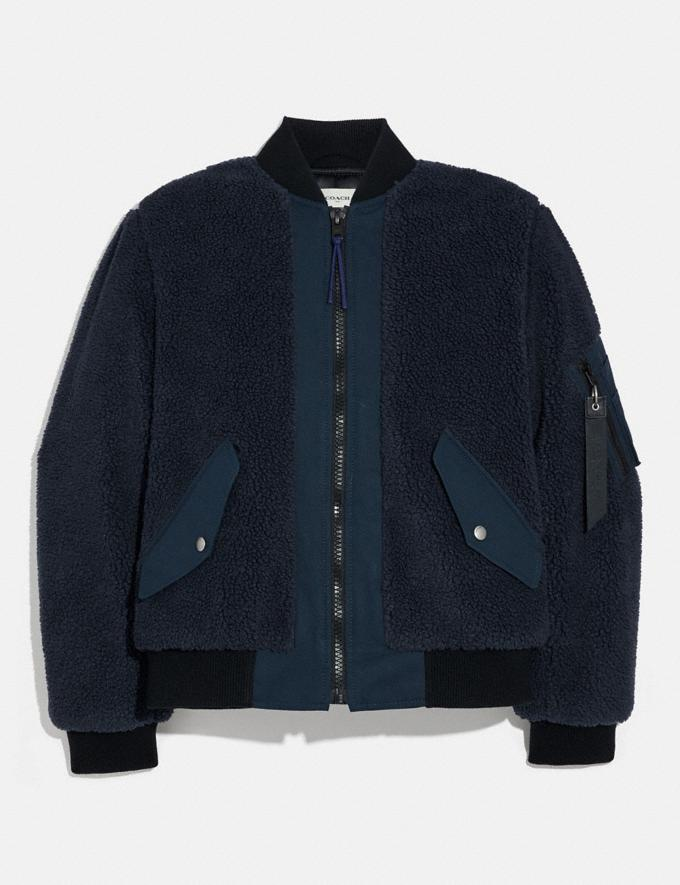 Coach Fleece Ma-1 Jacket Navy Men Ready-to-Wear