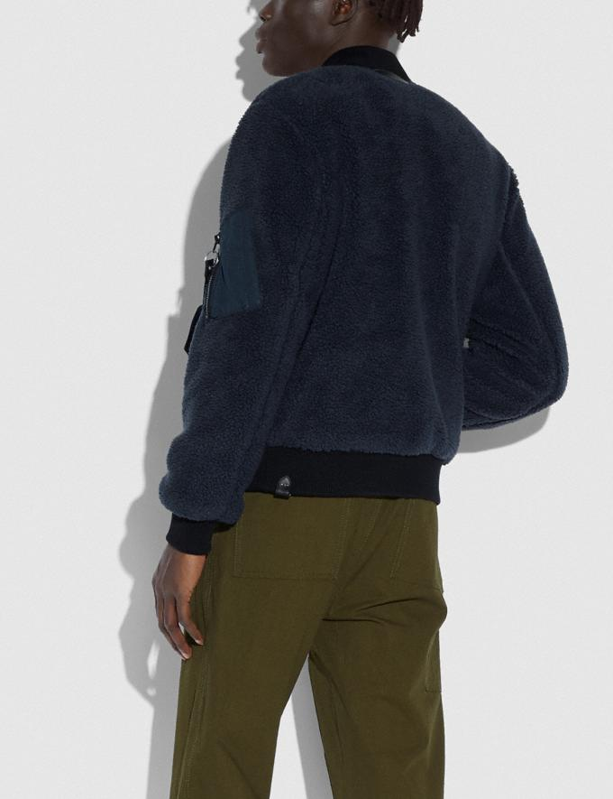 Coach Fleece Ma-1 Jacket Navy Men Ready-to-Wear Alternate View 2