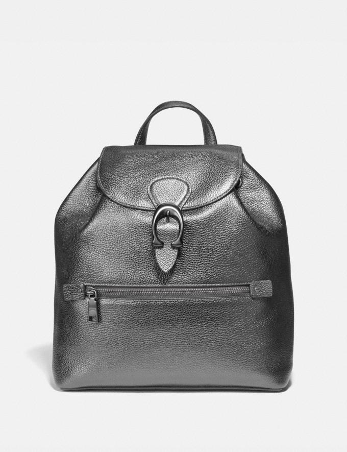 Coach Evie Backpack Pewter/Metallic Graphite Women Handbags Backpacks