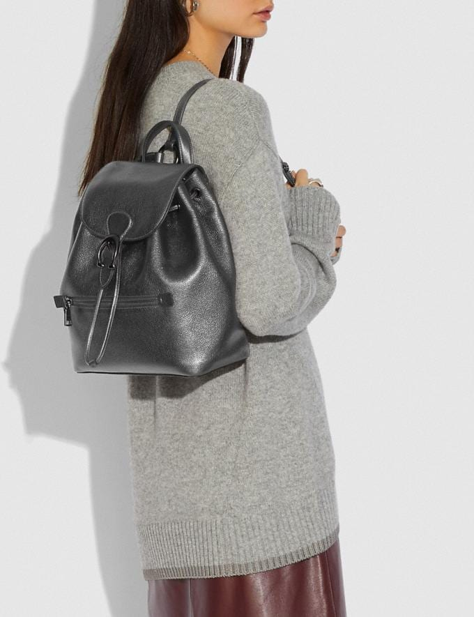 Coach Evie Backpack Pewter/Metallic Graphite Women Handbags Backpacks Alternate View 3