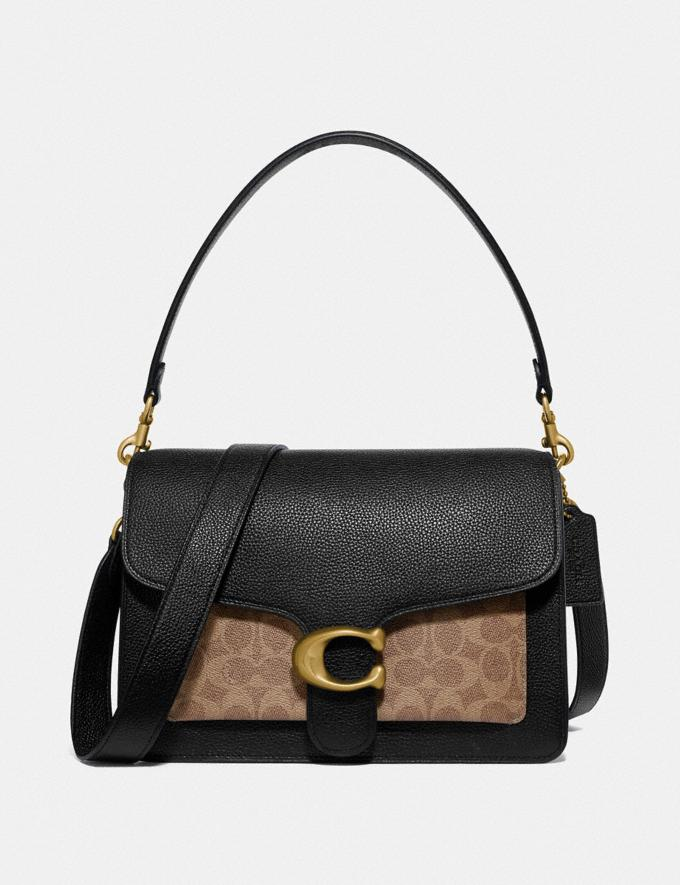 Coach Tabby Shoulder Bag With Signature Canvas Brass/Tan Black Women Handbags Shoulder Bags & Hobos