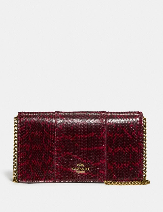 Coach Callie Foldover Chain Clutch in Blocked Snakeskin Brass/Deep Red SALE Women's Sale Bags