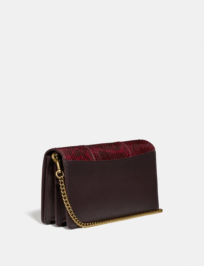 Coach Callie Foldover Chain Clutch in Blocked Snakeskin Brass/Deep Red Women Handbags Crossbody Bags Alternate View 1