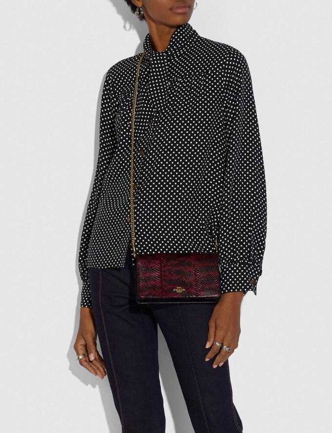 Coach Callie Foldover Chain Clutch in Blocked Snakeskin Brass/Deep Red Women Handbags Crossbody Bags Alternate View 3