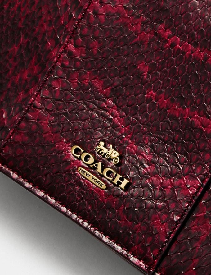 Coach Callie Foldover Chain Clutch in Blocked Snakeskin Brass/Deep Red SALE Women's Sale Bags Alternate View 4