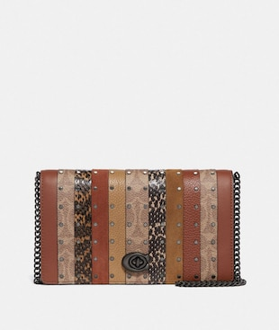CALLIE FOLDOVER CHAIN CLUTCH WITH SIGNATURE CANVAS PATCHWORK STRIPES AND SNAKESKIN DETAIL