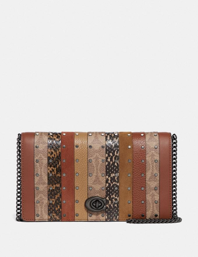 Coach Callie Foldover Chain Clutch With Signature Canvas Patchwork Stripes and Snakeskin Detail Pewter/Tan Black Multi Cyber Monday Women's Cyber Monday Sale Wallets & Wristlets