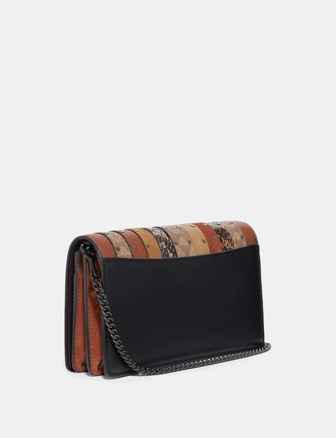 Coach Callie Foldover Chain Clutch With Signature Canvas Patchwork Stripes and Snakeskin Detail Pewter/Tan Black Multi Cyber Monday Women's Cyber Monday Sale Wallets & Wristlets Alternate View 1
