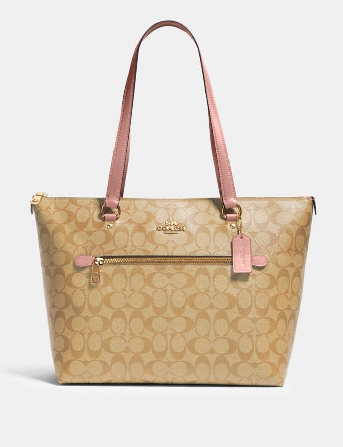 Coach Gallery Tote in Signature Canvas Im/Light Khaki Blossom Bags Bags Totes