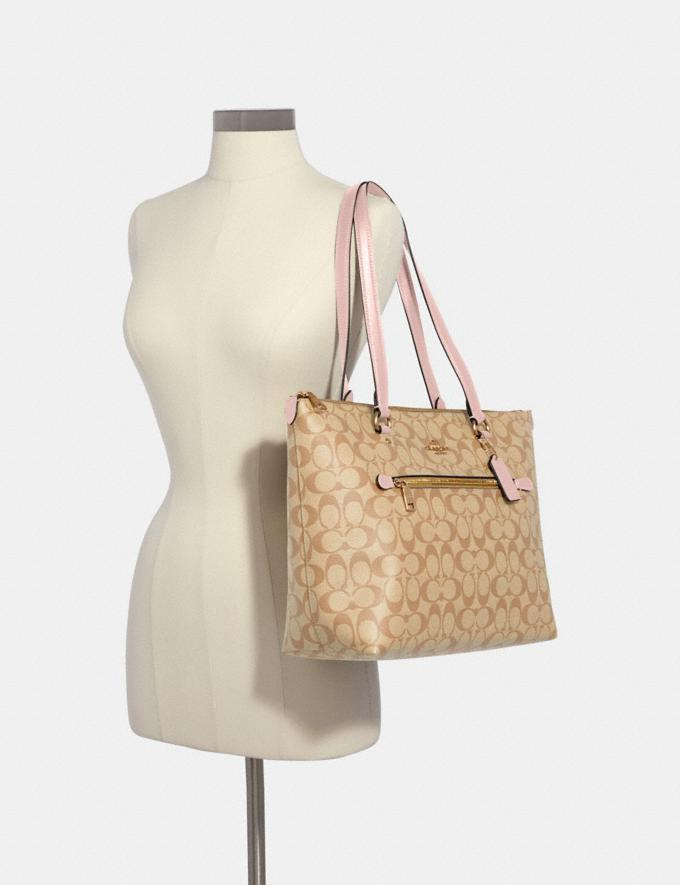 Coach Gallery Tote in Signature Canvas Im/Light Khaki Blossom Bags Bags Totes Alternate View 2