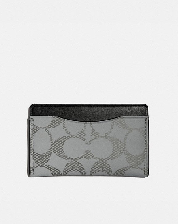 Coach SMALL CARD CASE IN REFLECTIVE SIGNATURE CANVAS