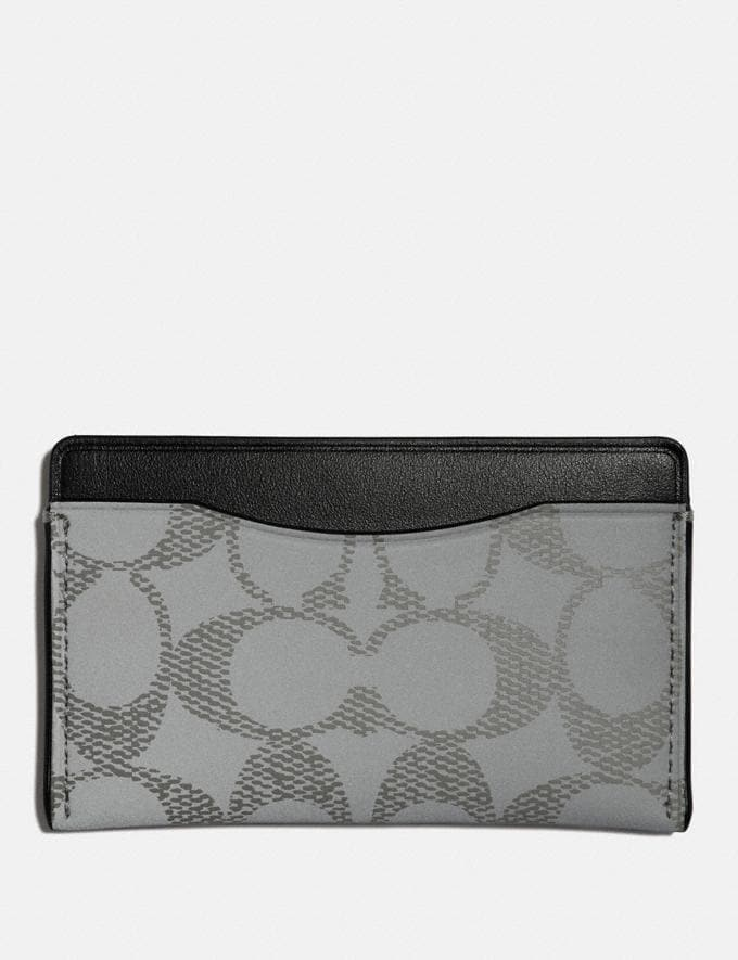 Coach Small Card Case in Reflective Signature Canvas Silver/Black New Men's New Arrivals