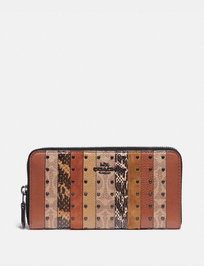 Coach Accordion Zip Wallet With Signature Canvas Patchwork Stripes and Snakeskin Detail Pewter/Tan Black Multi New Women's New Arrivals Wallets & Wristlets