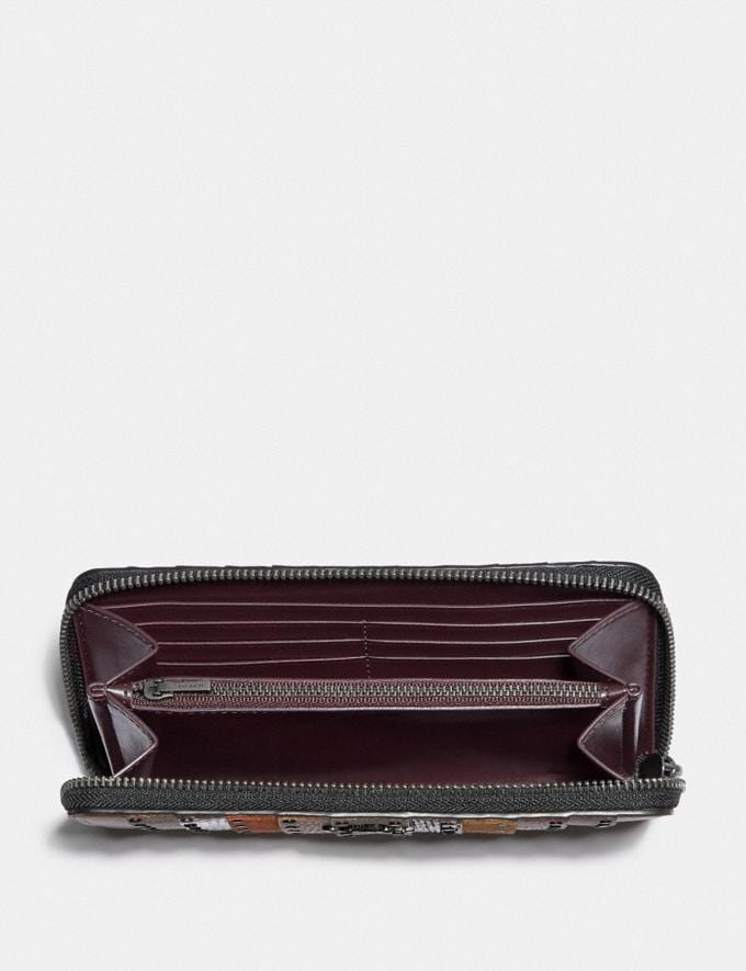 Coach Accordion Zip Wallet With Signature Canvas Patchwork Stripes and Snakeskin Detail Pewter/Tan Black Multi New Women's New Arrivals Wallets & Wristlets Alternate View 1