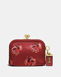 brass/red apple floral print