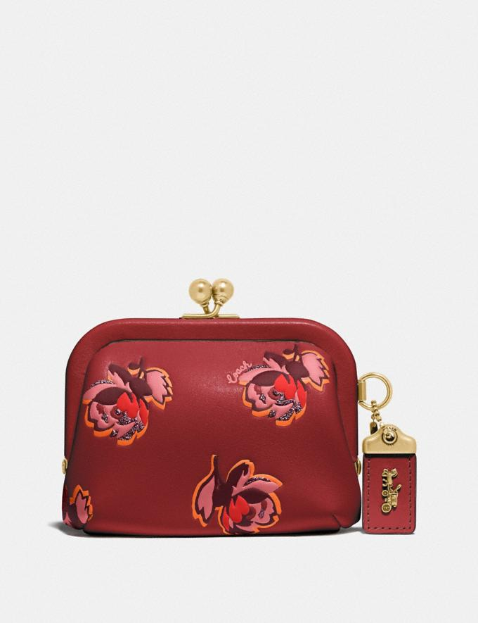Coach Kisslock Coin Purse With Floral Print Brass/Red Apple Floral Print Women Accessories