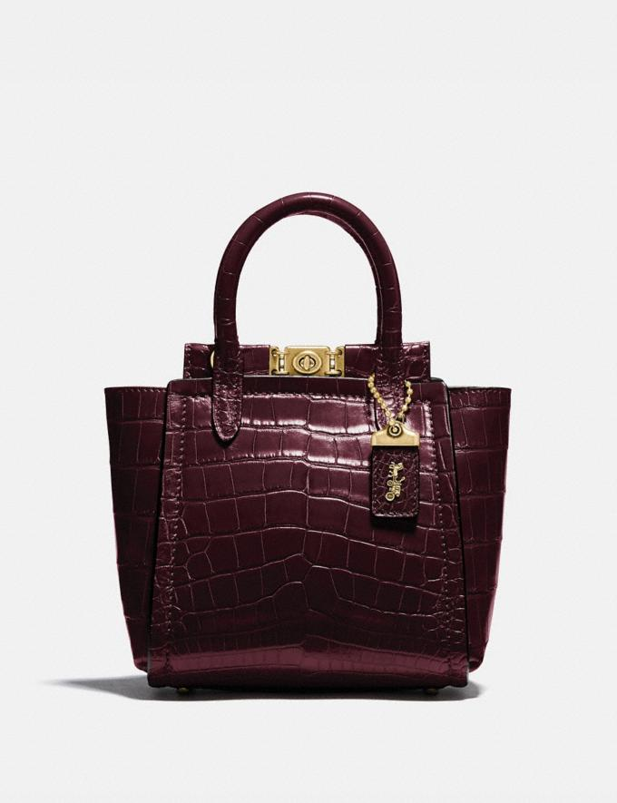 Coach Troupe Tote 16 in Alligator Brass/Bordeaux Women Collection Troupe