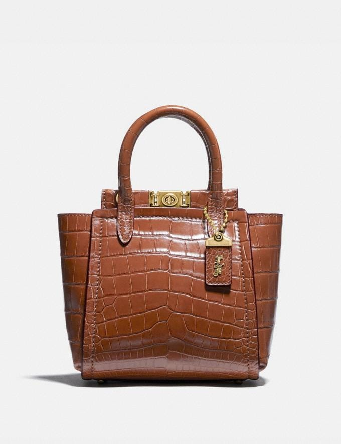 Coach Troupe Tote 16 in Alligator Brass/1941 Saddle Women Collection Troupe