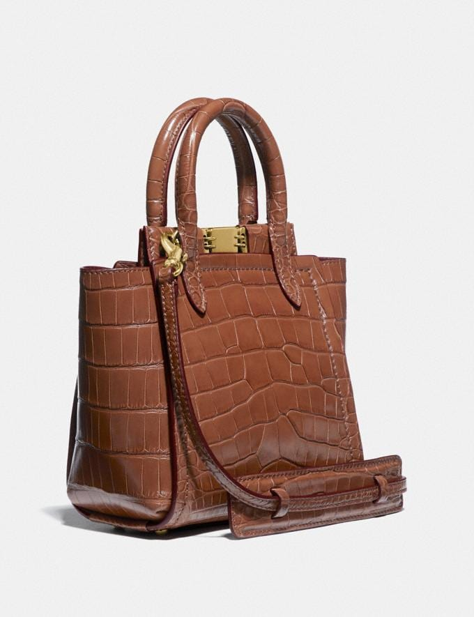 Coach Troupe Tote 16 in Alligator Brass/1941 Saddle Women Collection Troupe Alternate View 1