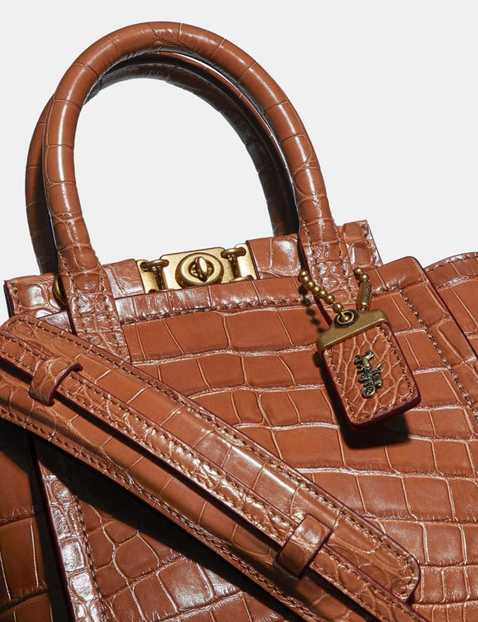 Coach Troupe Tote 16 in Alligator Brass/1941 Saddle Women Collection Troupe Alternate View 4
