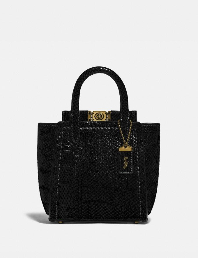 Coach Troupe Tote 16 in Snakeskin Brass/Black Women Handbags Satchels & Top Handles