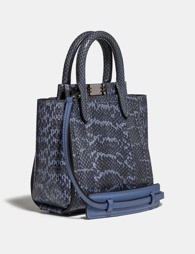 Coach Troupe Tote 16 in Snakeskin Pewter/Stone Blue Women Handbags Crossbody Bags Alternate View 1