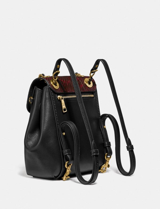 Coach Parker Convertible Backpack 16 With Snakeskin Detail Brass/Black Women Bags Backpacks Alternate View 1