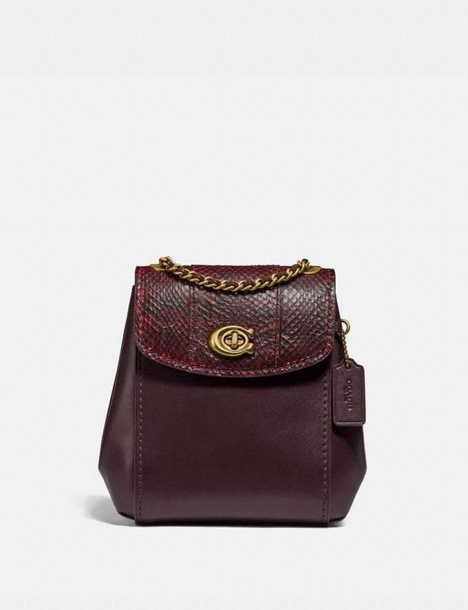 Coach Parker Convertible Backpack 16 With Snakeskin Detail Brass/Deep Red Personalise For Her Bags