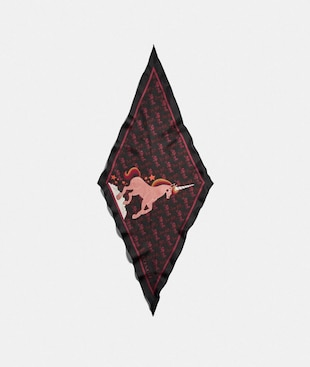 HORSE AND CARRIAGE UNICORN PRINT SILK DIAMOND SCARF