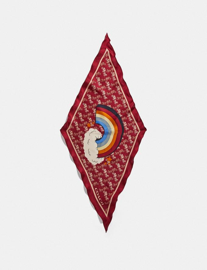Coach Horse and Carriage Rainbow Print Silk Diamond Scarf Red/Deep Red Women Accessories Scarves