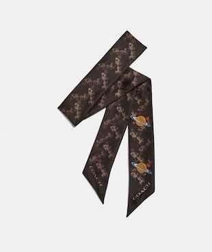 HORSE AND CARRIAGE PLANET PRINT SILK SKINNY SCARF