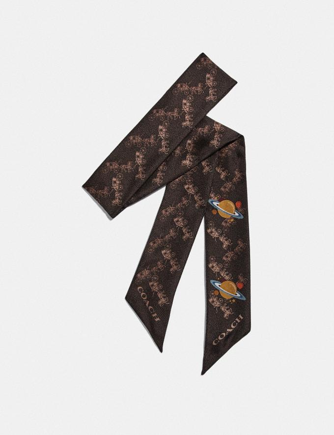 Coach Horse and Carriage Planet Print Silk Skinny Scarf Brown/Black Women Accessories Hats, Scarves & Gloves