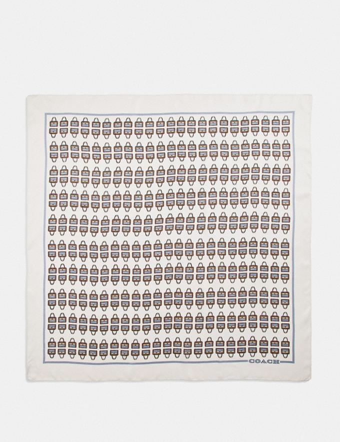 Coach Archival Print Silk Square Scarf Chalk Women Accessories Hats Scarves and Gloves