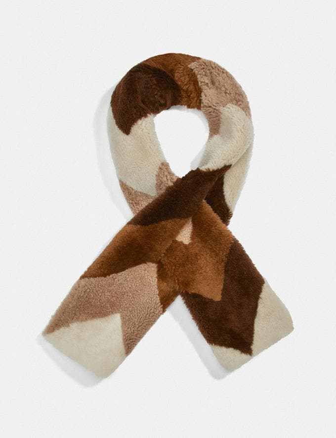 Coach Shearling Muffler Camel Women Accessories Scarves & Gloves