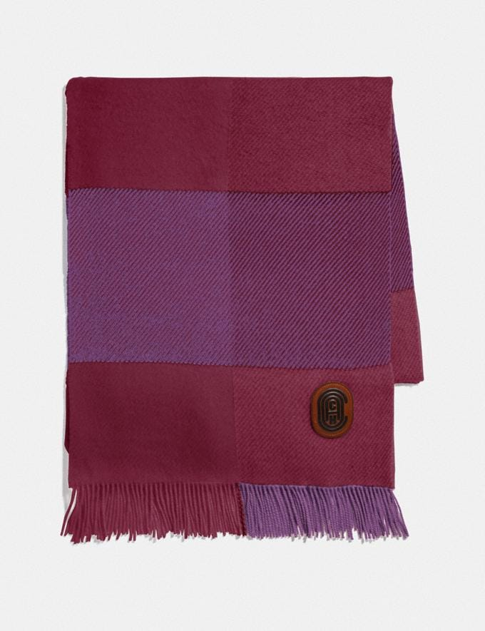 Coach Check Print Oversized Muffler Lilac Berry Women Accessories Scarves and Gloves