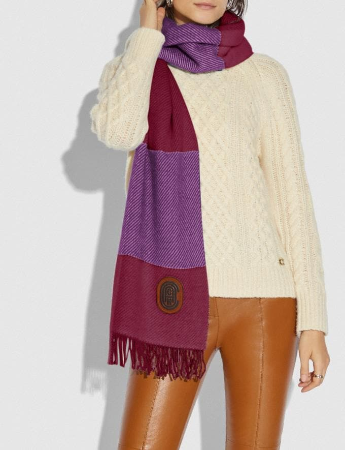 Coach Check Print Oversized Muffler Lilac Berry Women Accessories Scarves and Gloves Alternate View 1
